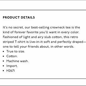 Madewell Tops - Madewell Whisper Cotton Crewneck Tee Stripe M NWT